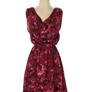 alice + olivia watercolor A line dress red/pink XS
